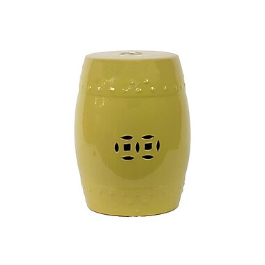 Woodland Imports Ceramic Garden Stool; Light Yellow