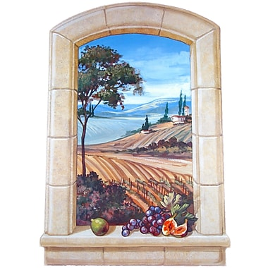 Stupell Industries The Vineyard Faux Window Scene Original Painting Wall Plaque