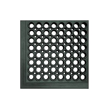 Matting 3' x 5' Safewalk Light Rubber Anti-Fatigue Drainage Mat, Black