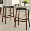 Kingstown Home Giavanna  29'' Bar Stool (Set of 2); Cherry / Dark Brown