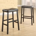 Kingstown Home Giavanna  29'' Bar Stool (Set of 2); Black / Dark Brown