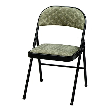 Meco Deluxe Fabric Padded Folding Chair; Black Lace/Zuni