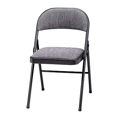 Meco Deluxe Fabric Padded Folding Chair; Black Lace/Mist