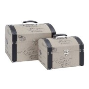 Woodland Imports 2 Piece Canvas and Leather Box Set