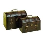 Woodland Imports 2 Piece Leather Trunk Set