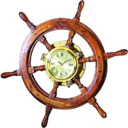 Woodland Imports Oversized 26'' Wooden and Brass Ship Wheel Wall Clock