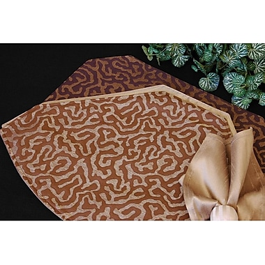 Pacific Table Linens Illusions Table Linens Reversible Placemat (Set of 2); Chocoloate / Light Gold