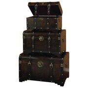 Woodland Imports 3 Piece Faux Leather Trunk Set
