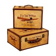 Woodland Imports 'Fly the World' 2 Piece Wooden Trunk Set