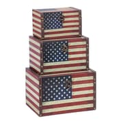 Woodland Imports 3 Piece US Flag Trunk Set