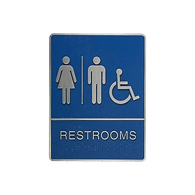 Women/Men/Wheelchair Restroom Sign with Braille, 6