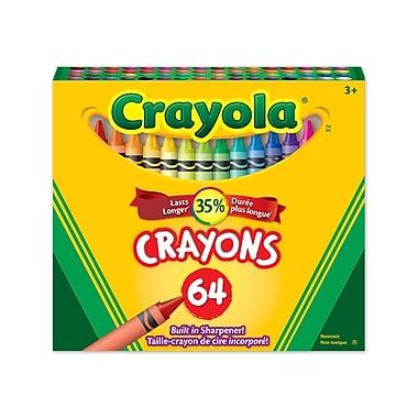 Crayola® - Crayons de cire, boîte à patte rentrante, 64 par boîte, paq./12