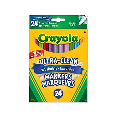 Crayola® Washable Fine Line Markers, Assorted Colours, 24 per Box, 12/Pack