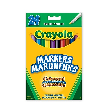 Crayola® Fine Line Markers, Assorted Colours, 24 per Box, 12/Pack