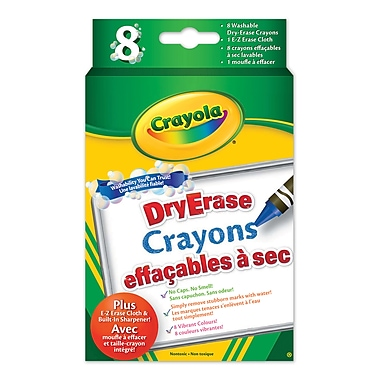 Crayola® Washable Dry Erase crayons, Original Colours, 12/Pack
