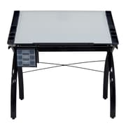 "Studio Designs 45"" x 43"" Steel Futura Drafting Table with Glass Top"