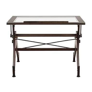 Studio Designs Aries 42''Lx31''D Rectangular Drafting Table, Glass