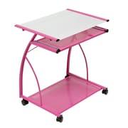 Calico Designs 27W x 18.75D Plastic L Computer Cart Pink/White