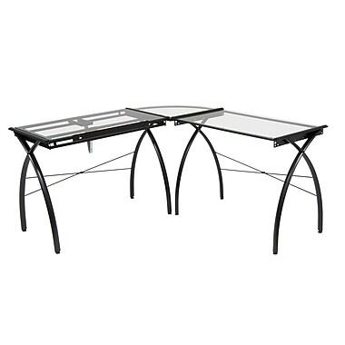 Studio Designs Steel Futura LS Work Table, Black & Clear Glass