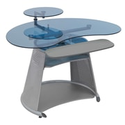 Calico Designs 33.75 x 46 Glass/Metal Neptune Computer Desk, Silver