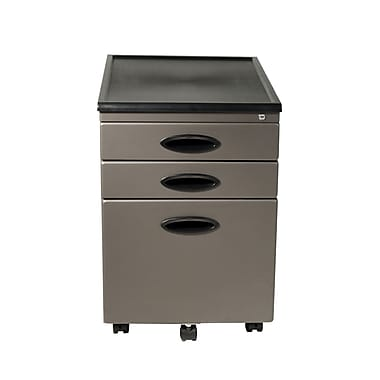 Calico Designs 3-Drawer Metal and Plastic File Cabinet, Pewter, Letter and Legal (51101BOX)