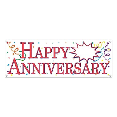 Happy Anniversary Sign Banner Personalizable, 5' x 21