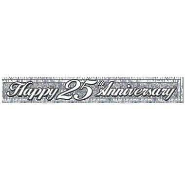 Bannière métallique à franges « Happy 25th Anniversary », 8 po x 5 pi, paquet de 4