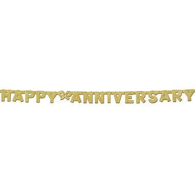 Gold Foil Happy Anniversary Streamer, 4-1/4