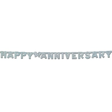 Silver Foil Happy Anniversary Streamer, 4-1/4
