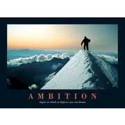 "Ace Framing ""Ambition Climbing The Snowy Mountain Top Motivational"" Framed Poster, 24"" x 36"""