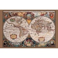 Ace Framing in.17th Century World Mapin. Framed Poster, 24in. x 36in.