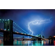 Pyramid America™ Brooklyn Bridge Lightning Poster