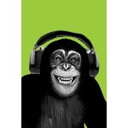 Ace Framing Chimpanzee Wearing Headphones Framed Poster, 36 x 24