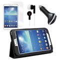 Mgear Accessories Folio Case with Earphones, Screen Protector & Car Charger Samsung Galaxy Tab 3