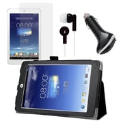 Mgear Accessories ASUS Memo Pad 8 Black Folio Case with Screen Protector, Earphones and Car Charger