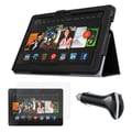 Mgear Accessories Kindle Fire HDX 8.9in. Tablet Black Folio Case with Screen Protector & Car Charger