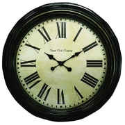 Geneva Clock 4649G Plastic Wall Clock, Antique Black/Gold