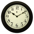 Geneva Clock 4671G Plastic Wall Clock, Black