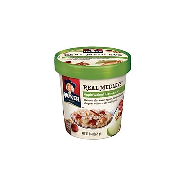 Quaker Real Medley Apple Walnut Oatmeal 2.64 Oz., 12/Pack