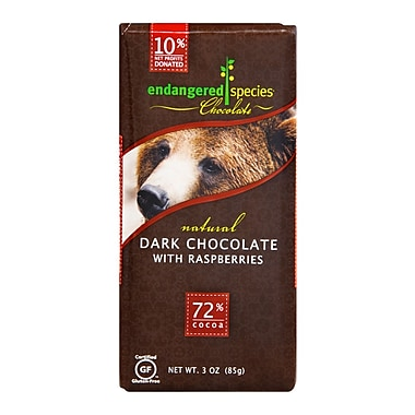 Endangered Species Chocolate Dark Red Raspberry Grizzly 3 Oz. 12/Pack