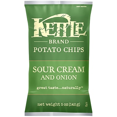 Kettle Brand Potato Chips, Sour Cream and Onion 5 Oz., 12/Pack