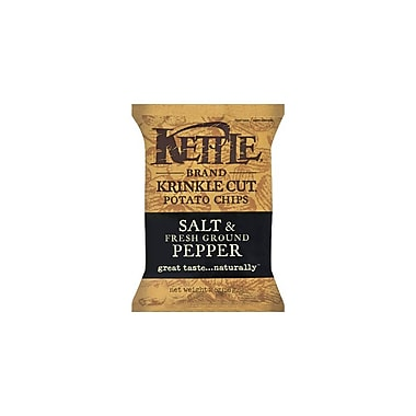 Kettle Brand Krinkle Cut Potato Chips Salt & Fresh Ground Pepper, 24/Pack