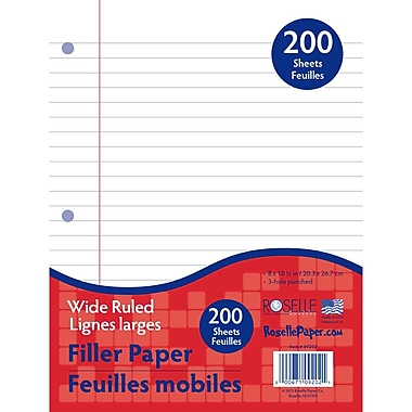 Roselle Write Way™ 10 1/2in. x 8in. Wide Ruled 200-Sheet Notebook Filler Paper, White