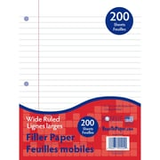 Roselle Write Way™ 10 1/2 x 8 Wide Ruled 200-Sheet Notebook Filler Paper, White