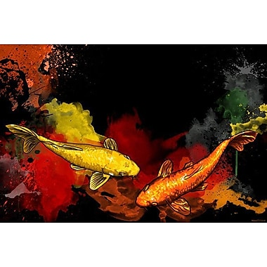 Maxwell Dickson Koi Painting Print on Wrapped Canvas; 24'' H x 36'' W