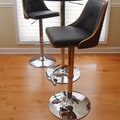 LumiSource Nueva 27'' Adjustable Swivel Bar Stool ; Walnut / Black