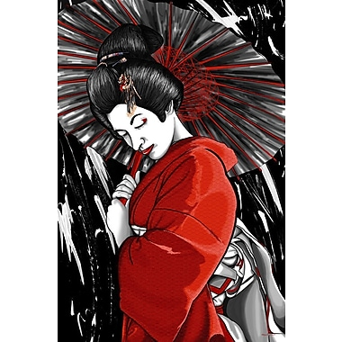 Maxwell Dickson ''Geisha'' Graphic Art on Wrapped Canvas; 36'' H x 48'' W