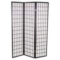 Hodedah 70'' x 69'' 3 Panel Room Divider; Black