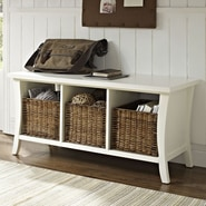 Crosley Wallis Wood Entryway Storage Bench; White