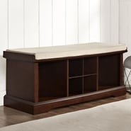 Crosley Brennan Wood Entryway Storage Bench; Mahogany